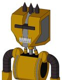 Yellow Droid With Mechanical Head And Teeth Mouth And Black Visor Cyclops And Three Dark Spikes. Portrait style Yellow Droid With Mechanical Head And Teeth Mouth royalty free illustration