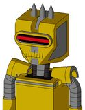 Yellow Droid With Mechanical Head And Toothy Mouth And Visor Eye And Three Spiked. Portrait style Yellow Droid With Mechanical Head And Toothy Mouth And Visor vector illustration