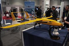 Yellow Drone at CES 2019 royalty free stock photo