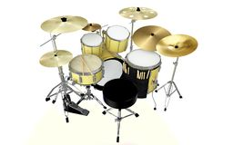 Yellow drum set drummer view 3d rendering. Isolated modern yellow drum set drummer view or back view 3d rendering Stock Photography