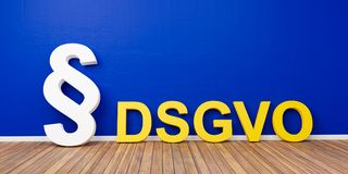 Yellow DSGVO Basic Data Protection Regulation Concept with white paragraph symbol on blue wall - 3D Rendering Stock Photo
