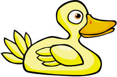 Yellow Duck. Color cartoon artwork line-art Royalty Free Stock Images