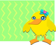 Yellow Duck with a Blue Heart Bow Royalty Free Stock Photo