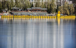 Yellow Duck Boats, Beijing Royalty Free Stock Photo