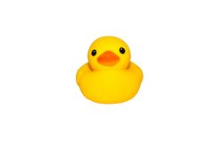 Yellow duck isolated. Cute yellow rubber duck on white colored background Royalty Free Stock Photo
