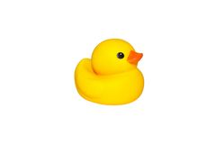 Yellow duck isolated. Cute yellow rubber duck on white colored background Stock Photo