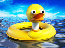 Yellow duck lifebuoy standing on sea surface. 3D illustration Stock Image