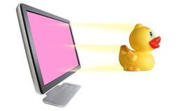 Yellow duck & monitor Royalty Free Stock Photo