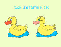 Yellow duck spot the differences. Spot the differences picture with yellow duck for kids Stock Images