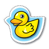 Yellow duck sticker Stock Image