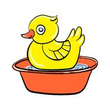 Yellow duck toy icon, cartoon style stock illustration