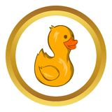 Yellow duck toy vector icon, cartoon style Royalty Free Stock Photos