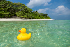 Yellow duck on the tropical beach. Concept travel and vacation Stock Photography