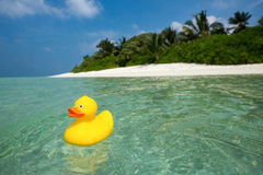 Yellow duck on the tropical beach. Concept travel and vacation Stock Photo