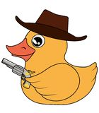 Yellow duck vector cowboy pirate bandit with pistol revolver royalty free illustration
