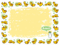 Yellow duckies frame TWINS Stock Photos