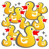 Yellow ducks background Stock Images
