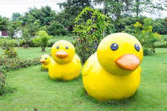 Yellow ducks decoration sculpture on green grass Royalty Free Stock Images