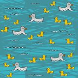 Yellow ducks swimming in the turquoise lake seamle. Little yellow ducks swimming in the lake on sunny summer day animal wildlife seamless pattern on turquoise Royalty Free Stock Image