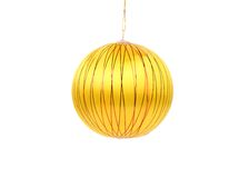 Yellow dull christmas ball. Royalty Free Stock Photography
