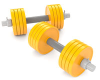 Yellow dumbbells Stock Image