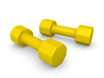 Yellow dumbbells. Two yellow dumbbells. 3d rendering Stock Photo