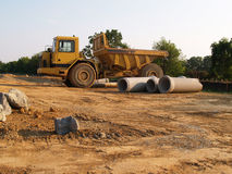 Yellow dump truck royalty free stock photo