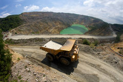 Yellow dump truck on coper surface mining Stock Photography