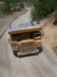 Yellow dump truck on coper surface mining Royalty Free Stock Photo