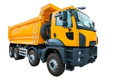 Yellow dump truck isolated on white background with clipping path. Yellow dump truck isolated on white background. Clipping path Stock Photography