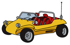 Yellow dune buggy. Hand drawing of a funny yellow dune buggy - not a real model Royalty Free Stock Photo