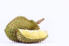 Yellow durian  mon thong and durian peeled is king of fruits durian and  fruit plate tropical durian on white background healthy d Royalty Free Stock Photo