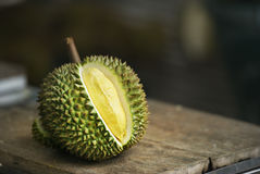 Yellow Durian on table Stock Images