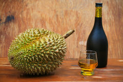 Yellow durian on wood table, Fresh fruit from orchard, King of fruit from Thailand, Many people like this fruit Royalty Free Stock Photography
