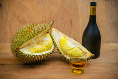 Yellow durian on wood table, Fresh fruit from orchard, King of fruit from Thailand, Many people like this fruit Royalty Free Stock Photo