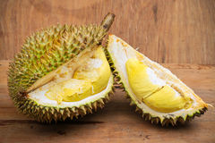 Yellow durian on wood table, Fresh fruit from orchard, King of fruit from Thailand Royalty Free Stock Image