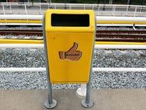 Yellow dustbin Stock Photography
