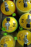 Yellow ean nitrox scuba diving tanks. Yellow enriched air nitrox tanks for scuba diving seen from above ready for technical diving subic bay in the philippines royalty free stock photo