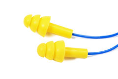 Yellow Earplugs. Pair of Yellow Earplugs on Blue String Isolated on White Background Stock Photography