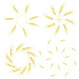 Yellow Ears of Wheat Icon Set Stock Photography