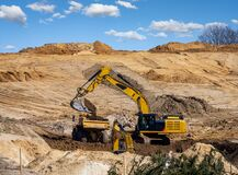 Free Yellow Earth Mover At A Construction Site Stock Image - 216860921