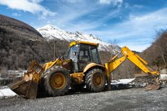 Yellow earth mover Royalty Free Stock Photo