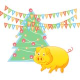 Yellow earth pig and New year tree, the symbol of 2019 vector illustration