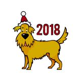 Yellow earthen dog in the New Year`s cap. Symbol of 2018 on the vector illustration