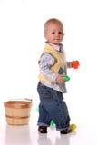 Yellow easter basket boy Stock Photography