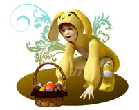 Yellow Easter Bunny Stock Images