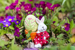 Yellow easter  bunny egg  egg with pink flowers in the spring garden Royalty Free Stock Images