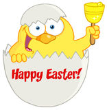 Yellow easter chick in a shell ringing a bell Royalty Free Stock Photography