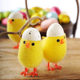 Yellow Easter chicks Royalty Free Stock Images
