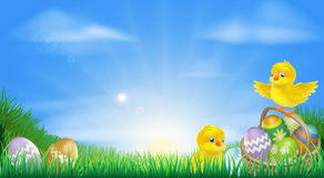 Yellow Easter chicks and eggs background. Background illustration of happy yellow Easter chicks and Easter eggs in a field Royalty Free Stock Photos